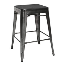 4 Pack Backless Counter Stool Galvanized Steel With Oversized Seats Gunmetal