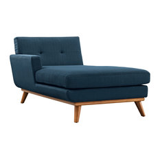 Left-Facing Upholstered Fabric Chaise, Azure