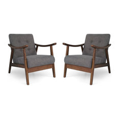 GDF Studio Aurora Mid-Century Modern Accent Chairs, Dark Gray/Brown, Set of 2