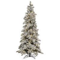 Vickerman Flocked Kodiak Spruce Tree, 6', Warm White/Frosted White Led Lights