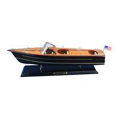 "Wooden Chris Craft Triple Cockpit Model Speedboat, 20"""