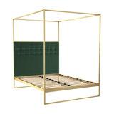Federico King Canopy Bed, Green Velvet, Brass Base