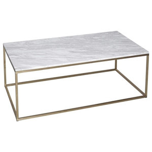 Kensal Marble Coffee Table, Brass Base