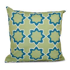"Bohemian 2, Geometric Outdoor Pillow, Teal, 18""x18"""