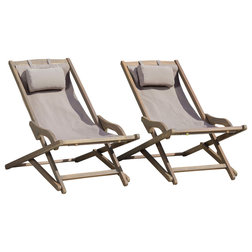 Transitional Outdoor Folding Chairs by GDFStudio