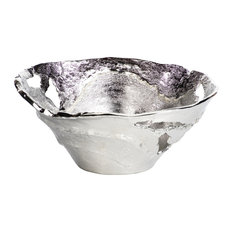 Hailey Organic Deep Silver Metal Decorative Bowl