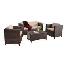 gdfstudio venice 4 piece outdoor wicker sofa set dark brown outdoor lounge brown set patio source outdoor