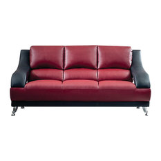 Anic Furniture Inc Vance Leather Sofa Maroon And Black Sofas