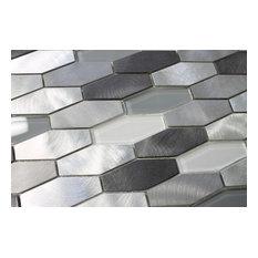 "Metro Long Hexagon Brushed Aluminum and Glass Mosaic Tile, 12""x12"""