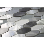 """Rocky Point Tile - Metro Long Hexagon Brushed Aluminum and Glass Mosaic Tile, 12""""x12"""" - Nothing says downtown like our Metro aluminum and glass mosaic tiles. This is great option for a modern kitchen backsplash. Colors include silver, mid and dark grey brushed aluminum pieces. Glass colors include white and grey."""