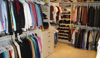 Master closet with Hutch drawers & shoe shelves