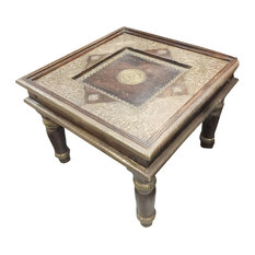 Mogul Interior - Consigned Chakra Brass Indian Antique Hand-Carved Side Table - Coffee Tables