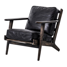 Four Hands Furniture - Irondale Brooks Lounge Chair, Black Wash Weathered - Living Room Chairs
