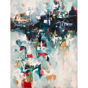 Original Abstract Modern Canvas Painting by Omar Obaid, 102 x 76 cm