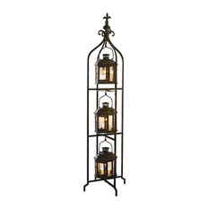 Metal Candle Lanterns With Stand, 3-Tier Lantern Stand for Yard