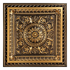 """La Scala - Faux Tin Ceiling Tile - 24""""x24"""" - #223, Antique Gold"""
