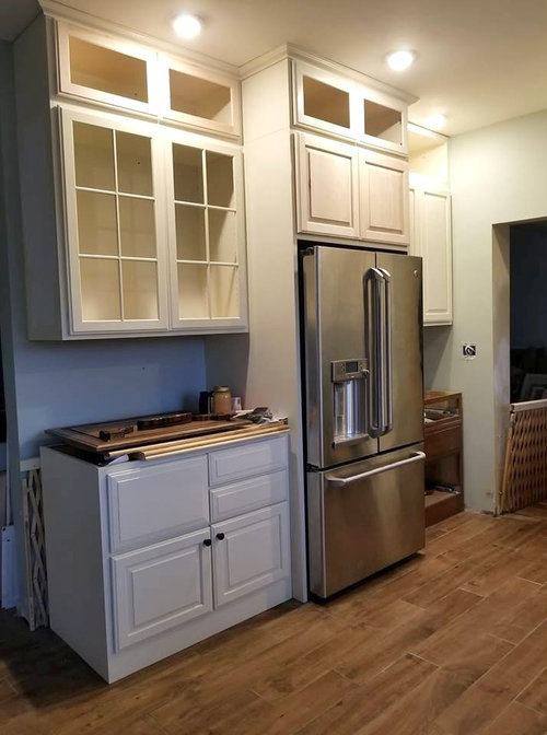 """14"""" upper glass cabinets, does glass have to match the bottom cabinets"""