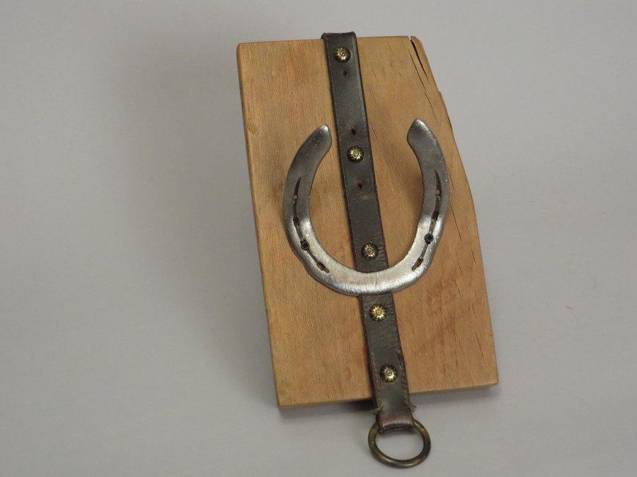 #R15026 Coat Rack Reclaimed Beech, horseshoes, leather.