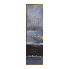 """Oversize 73"""" Tall Abstract Dramatic Painting   Wall Art Modern Blue Gold Gray"""