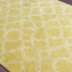 Amer Rugs Inc. - City Geometric Yellow Hand-Tufted Rug 5'x8' - Area Rugs