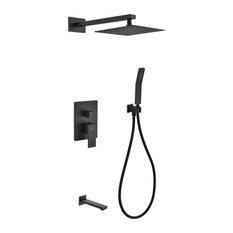 """Matte Black Shower Set With 8"""" Square Rain Shower, Tub Filler and Handheld"""