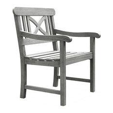 Vifah V1298 Renaissance Outdoor Hand-Scraped Wood Garden Armchair, Light Gray
