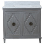 "Legion Furniture - Legion Furniture Tessa Vanity Cabinet With Top, Gray, 36"" - As the hub and focal point of your bathroom design, your vanity should be equal parts fashionable and functional. Enter the Tessa. This hardworking vanity provides a dose of chic style and utility to your space. It is equipped with a pair of cabinet doors with diamond paneling and decorative hardware that open to reveal a single drawer and ample shelf space to organize all your bathroom essentials. Its elegant marble top includes an undermount sink and is complemented by the vanity base's cool gray finish. We love the Tessa settled into transitional, farmhouse and contemporary washrooms."
