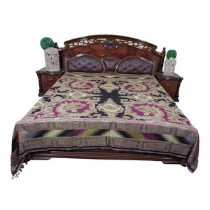 Mogul Interior - Mogul Moroccan Bedding Pashmina Wool Purple Black Paisley Blanket Throw - Throws