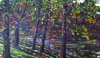 Original Art, acrylic painting lake and forest in early autumn