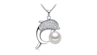 9MM AAA BUTTON WHITE DOLPHIN SHAPED 925 STERLING SILVER FRESHWATER PEARL PENDANT