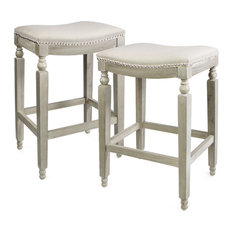 2-Piece Elegant Curve Saddle Back Counter Height Backless Stool Padded Seat