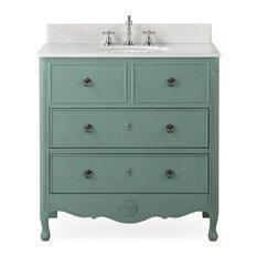 Distressed Rustic Farmhouse Bathroom Vanity, Vintage Blue, 34''