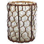 HomArt - Vallarta Glass Vase, Set of 2 - Decorate your home with the small Vallarta Glass Vase. Featuring clear, textured glass overlaid with a geometric rust wire lattice, this cylinder vase has a salvaged, antique look. Fill it with fresh flowers or display it as a stand-alone decorative piece.