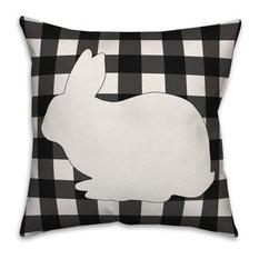 Black Buffalo Check Bunny Silhouette 16x16 Throw Pillow