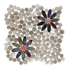 "12""x12"" Steel Daisies Mosaic Tile Design, Sheet"