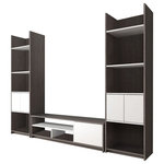 """Bestar - Small Space 3-Piece Tv Stand and 2 Storage Towers Set, Bark Gray and White - Within a compact space, choosing the right pieces of furniture is crucial in order to feel relaxed and comfortable. Maximize every square foot of your room with Bestar's Small Space units! This set includes one 53.5-inch TV Stand and two 20-inch Storage Towers. 53.5-inch TV Stand: 53.5"""" W x 14.5"""" D x 15.1"""" H. Durable commercial grade top surface with melamine finish that resists scratches, stains and burns. 3 open compartments to keep you organized. 1 closed compartment with 1 adjustable shelf and 2 grommets for efficient wire management. Each 20-inch Storage Tower: 20"""" W x 14.5"""" D x 71.1"""" H. It features 2 fixed and 3 adjustable shelves. The top and the bottom shelves are fixed. The doors can be installed between 2 of the 3 adjustable shelves for a unique design. Assembly Required."""