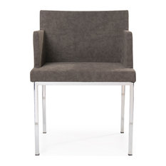 La Viola Decor - Real Side Chair in Bonded Leather, Grey Bonded Leather - Dining Chairs