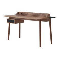 HARTO Honoré Walnut Desk, Slate Grey Accents