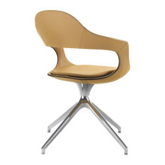"""""""Frenchkiss"""" High-Back Swivel Office Chair With Trestle Base, Yellow, Leather"""