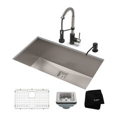 "28 1/2"" Undermount Stainless Steel Kitchen Sink, Pull-Down Faucet SSMB Dispenser"