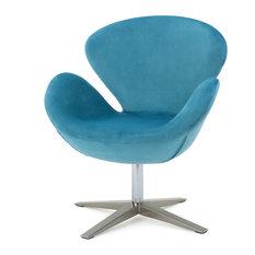 Merveilleux GDFStudio   Manhattan 70u0027s Retro Plush New Velvet Swivel Chair, Blue    Armchairs And Accent