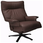 """Lafer Recliners - Lafer Valentina Recliner by Lafer Recliner Chairs, Espresso - Valentina Recliner Chair with swivel base by Lafer Recliner Chairs has a wider seat than most of the other Lafer Recliners and beautiful flared leather arms.  Valentina Recliner Dimensions: Total Height 40"""", seat height 19"""", total width 33.5"""", depth upright 34"""", depth reclined 67""""."""
