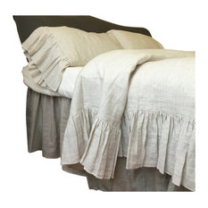 Linen Ticking Striped Bedding With Mermaid Long Ruffles, Full/Queen, 3-Piece Set