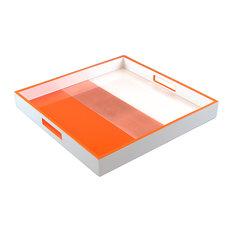 Lacquer Square Tray, Orange, Copper Leaf, White