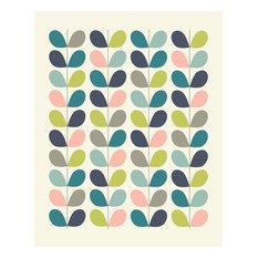 Midcentury Style Scandinavian Leaf Pattern Print, 12x18 cm