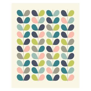 Midcentury Style Scandinavian Leaf Pattern Print, A4