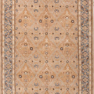 9 x12  Area Rug Rectangle Tan Blue Handmade Hand-Tufted Traditional Vintage  World Bazaar Exotics