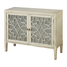 Santa Anita 2-Door Wood Console With Mirror Front and Fretwork by Sunset Trading