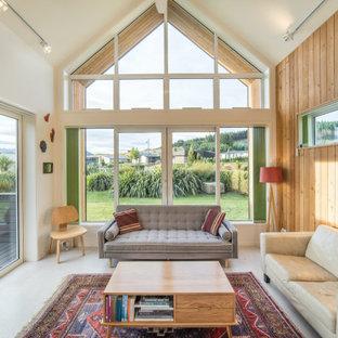Пример оригинального дизайна: гостиная комната в современном стиле с коричневыми стенами, сводчатым потолком и деревянными стенами