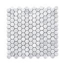 "12""x12"" Carrara White Hexagon Mosaic Tile Honed, Chip Size: 1"""